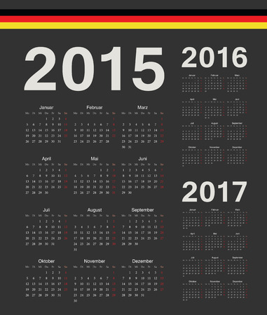 mondays: Set of black German 2015, 2016, 2017 year vector calendars. Week starts from Mondays.
