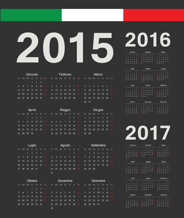 mondays: Set of black Italian 2015, 2016, 2017 year vector calendars. Week starts from Mondays.