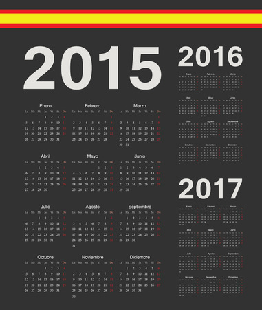 mondays: Set of black Spanish 2015, 2016, 2017 year vector calendars. Week starts from Mondays.