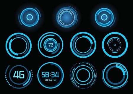 ヘッドアップ ・ ディスプレイとして未来の青いインフォ グラフィックのセット
