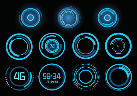 futuristic design: Set of futuristic blue infographics as head-up display
