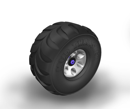 Illustration of off-road cartoon tyre. Perspective view.
