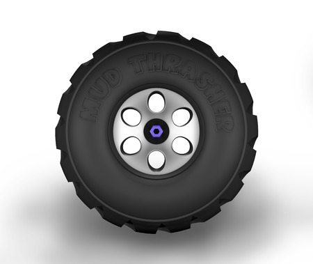 Illustration of off-road cartoon tyre. Front view.