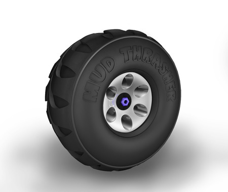 Off-road cartoon tyre. Perspective view. Stock Photo