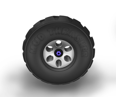 Illustration of off-road cartoon tyre. Side view.