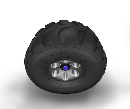 Illustration of off-road cartoon tyre. Top view. Stock Photo