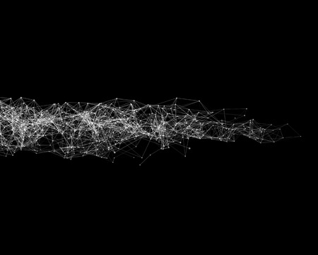 Abstract cybernetic particles on black background Stock Photo