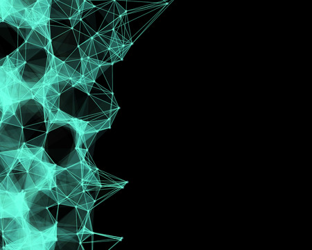 cybernetic: Illustration of green cybernetic particles on black background