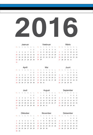 estonian: Simple Estonian 2016 year vector calendar. Week starts from Sunday.