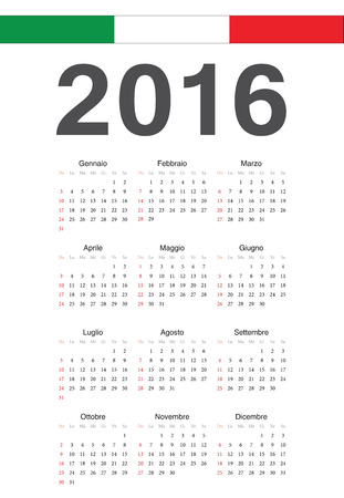 Simple Italian 2016 year vector calendar. Week starts from Sunday. Vector