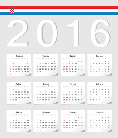 angles: Croatian 2016 vector calendar with shadow angles. Week starts from Sunday.