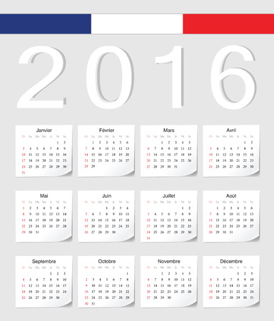 angles: French 2016 vector calendar with shadow angles. Week starts from Sunday. Illustration