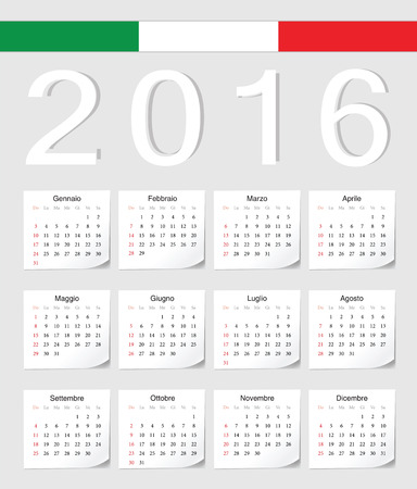 Italian 2016 vector calendar with shadow angles. Week starts from Sunday. Vector
