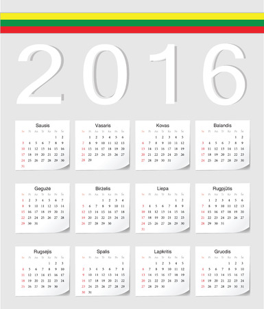 angles: Lithuanian 2016 vector calendar with shadow angles. Week starts from Sunday.