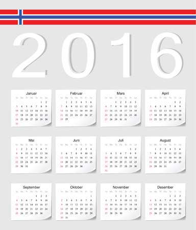 angles: Norwegian 2016 vector calendar with shadow angles. Week starts from Sunday. Illustration