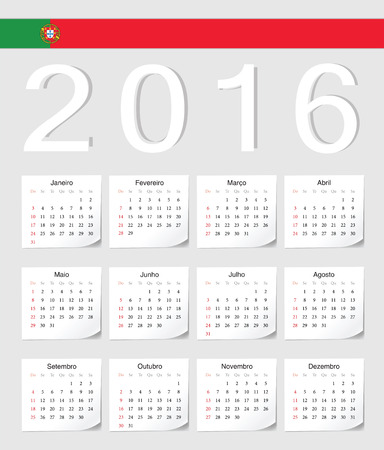 angles: Portuguese 2016 vector calendar with shadow angles. Week starts from Sunday. Illustration