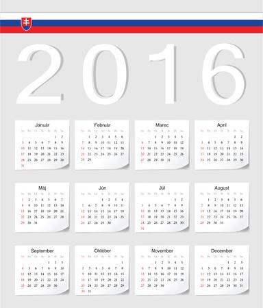 slovak: Slovak 2016 vector calendar with shadow angles. Week starts from Sunday. Illustration