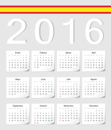 angles: Spanish 2016 vector calendar with shadow angles. Week starts from Sunday.