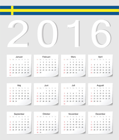 swedish: Swedish 2016 vector calendar with shadow angles. Week starts from Sunday.