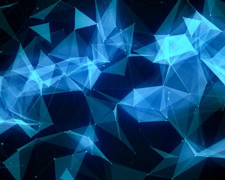 ブルー幾何学的粒子と抽象的なデジタル背景