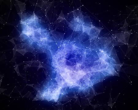 Abstract blue nebula in cosmos photo