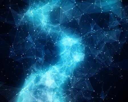 コスモスで抽象的な青い星雲のイラスト