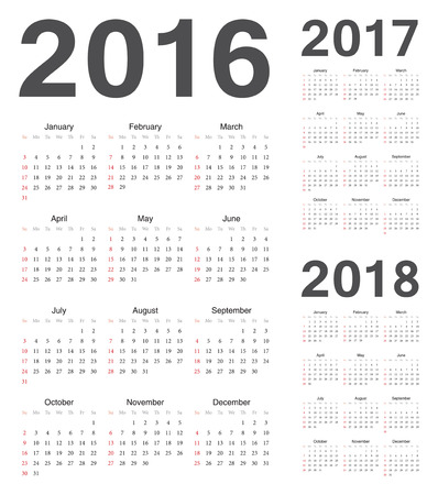 Set of european 2016, 2017, 2018 year vector calendars. Week starts from Sunday.