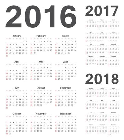 kalendarz: Zestaw europejskich kalendarzy 2016, 2017, 2018 roku wektorowych. Tydzień rozpoczyna się od niedzieli. Ilustracja