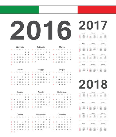 Set of simple Italian 2016, 2017, 2018 year vector calendars. Week starts from Sunday. Vector