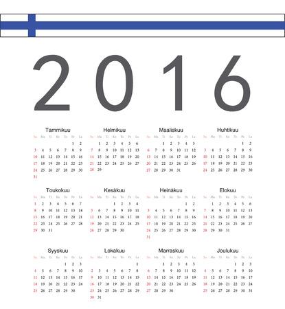 finnish: Square Finnish 2016 year vector calendar. Week starts from Sunday.