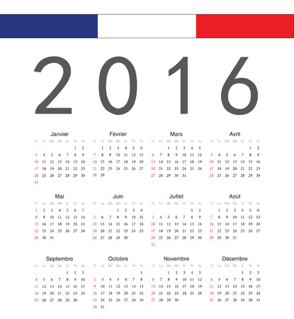 calendrier: Square french 2016 year vector calendar. Week starts from Sunday.