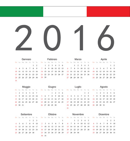 Square italian 2016 year vector calendar. Week starts from Sunday. Vector
