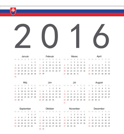 starts: Square Slovak 2016 year vector calendar. Week starts from Sunday.