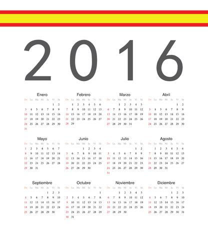 spainish: Square spainish 2016 year vector calendar. Week starts from Sunday.