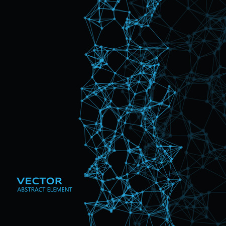 cybernetic: Vector element of blue abstract cybernetic particles on black background Illustration