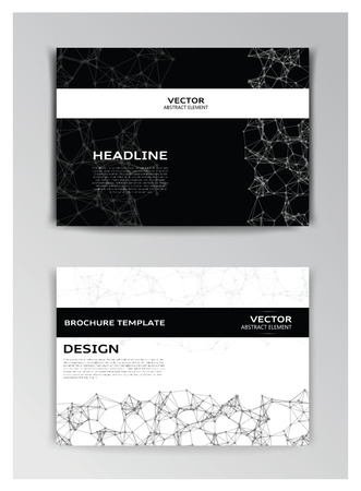 cybernetic: Vector horizontal template of brochure with abstract elements