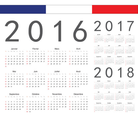 calendrier: Set of french 2016, 2017, 2018 year vector calendars. Week starts from Sunday. Illustration