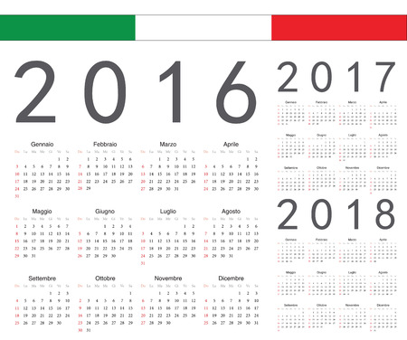 Set of Italian 2016, 2017, 2018 year vector calendars. Week starts from Sunday. Vector