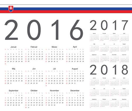slovak: Set of Slovak 2016, 2017, 2018 year vector calendars. Week starts from Sunday.