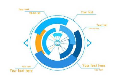 白い背景の上の未来の青とオレンジ インフォ グラフィック