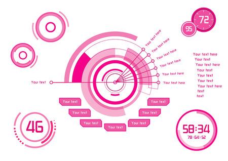 白い背景のヘッドアップ ・ ディスプレイとしてピンクのインフォ グラフィックのセット  イラスト・ベクター素材