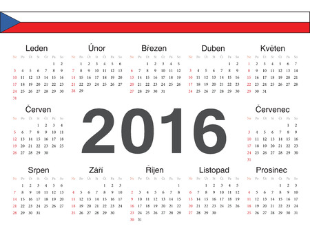 calendrier: Vector Czech circle calendar 2016. Week starts from Sunday. Illustration