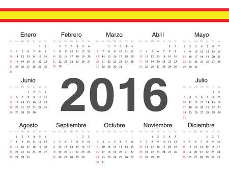 calendrier: Vector Spanish circle calendar 2016. Week starts from Sunday.