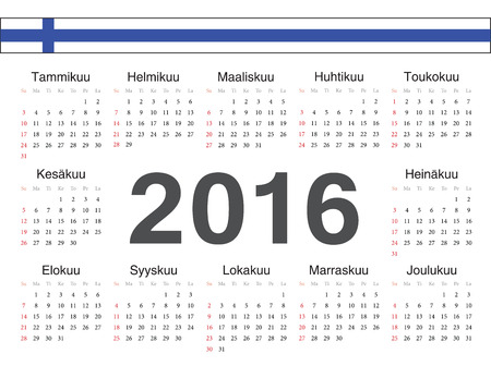 ベクトル フィンランド円カレンダー 2016 年。1 週間は日曜日から始まります。