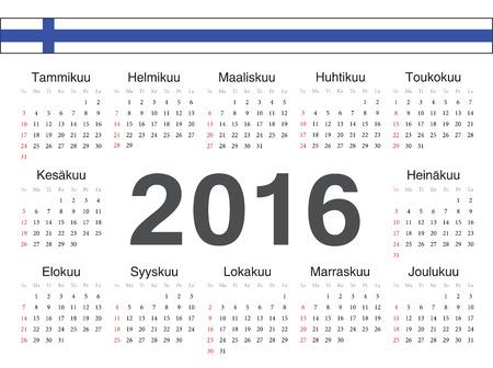finnish: Vector Finnish circle calendar 2016. Week starts from Sunday.