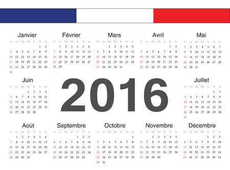 calendrier: Vector french circle calendar 2016. Week starts from Sunday.