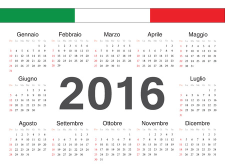 Vector Italian circle calendar 2016. Week starts from Monday. Vector