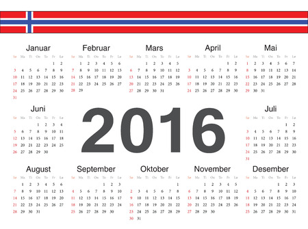 norwegian: Vector Norwegian circle calendar 2016. Week starts from Sunday.