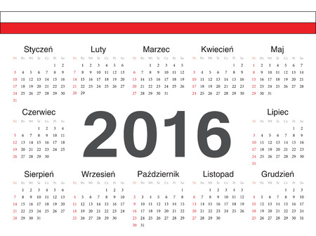 calendrier: Vector Polish circle calendar 2016. Week starts from Sunday. Illustration