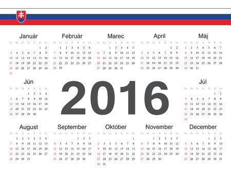 slovak: Vector Slovak circle calendar 2016. Week starts from Sunday.